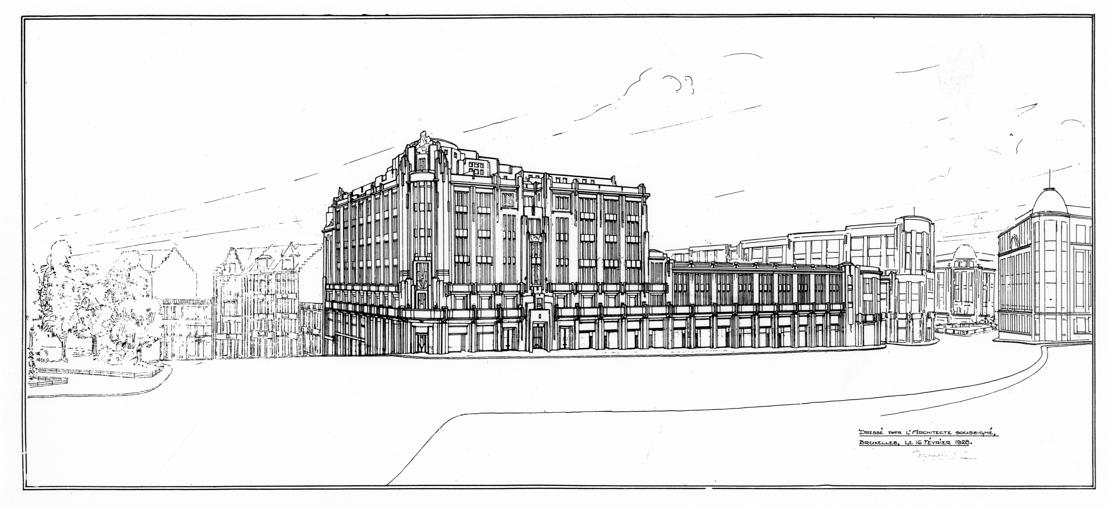 Victor Horta (1861-1947), projet du Municipal Development vu du côté de la rue Ravenstein à Bruxelles, 1928.<br/>© Archives d'Architecture Moderne