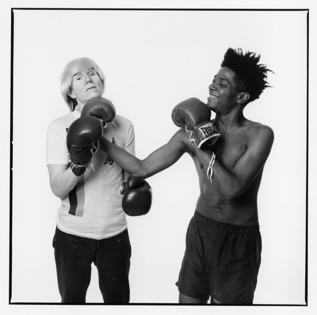 """Andy Warhol & Jean-Michel Basquiat #1 (first roll, first frame of the sitting)"" (July 10 1985) by Michael Halsband"