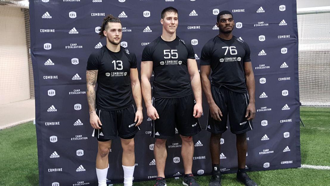 William Watson, Tanner Green et Justin Buren lors du camp d'évaluation régional de l'Ouest, présenté par adidas. Photo : Reid Valmestad/LCF.ca