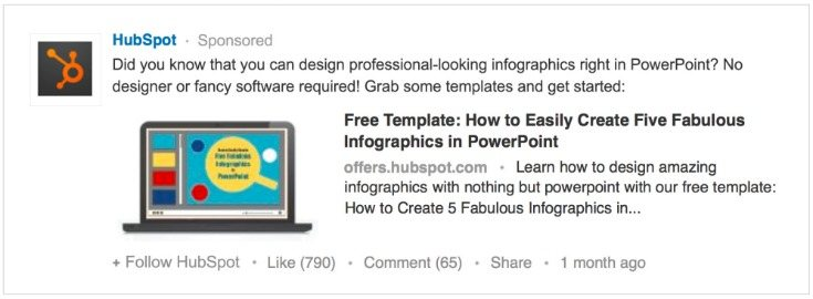 Example of LinkedIn sponsored update