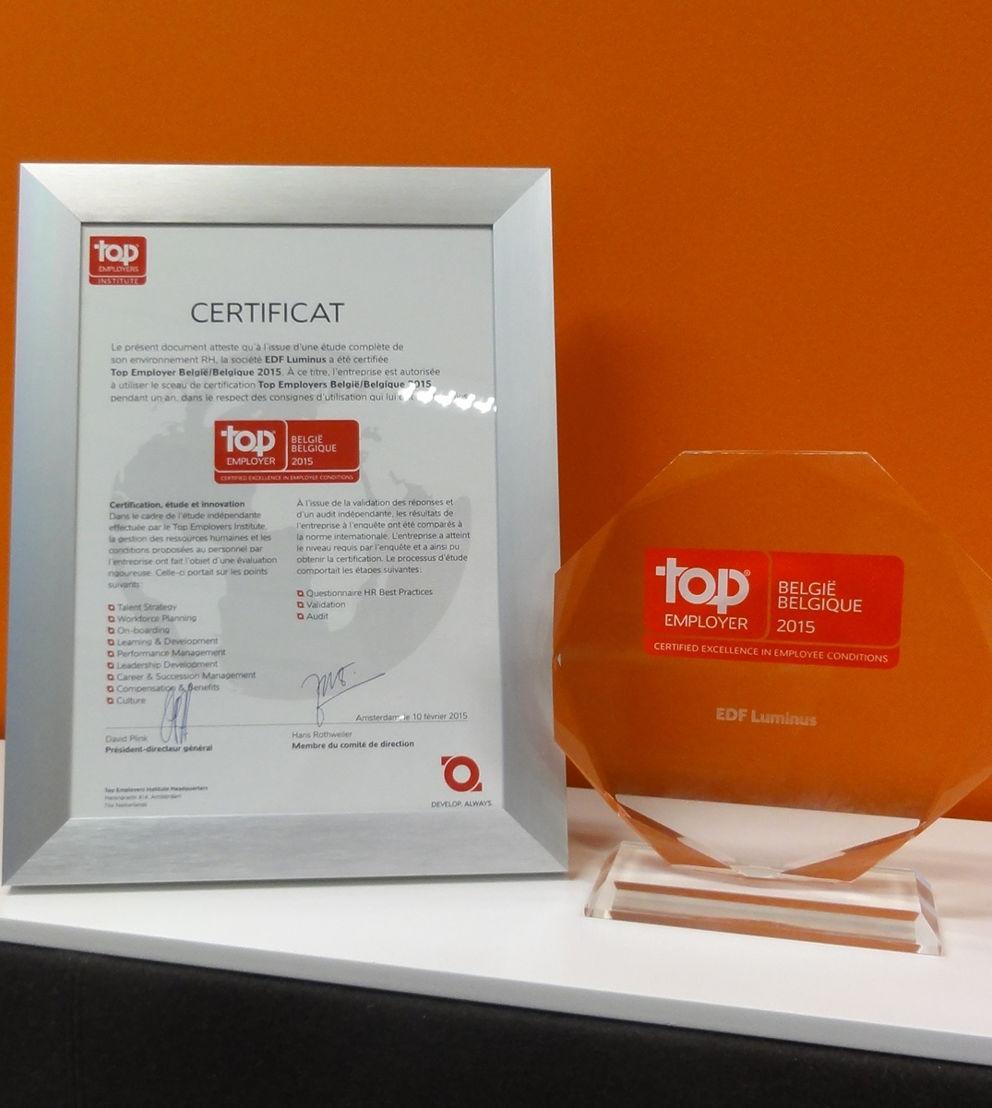 EDF Luminus, Top Employer 2015