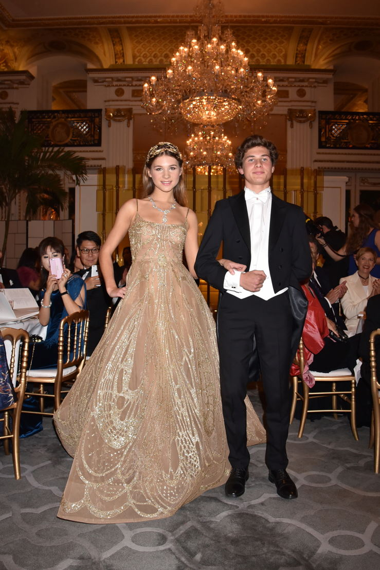 Hermine Royant (in Elie Saab HC and jewelry Payal New York) and her cavalier Quentin Colinet, Photo by Jean Luce Huré