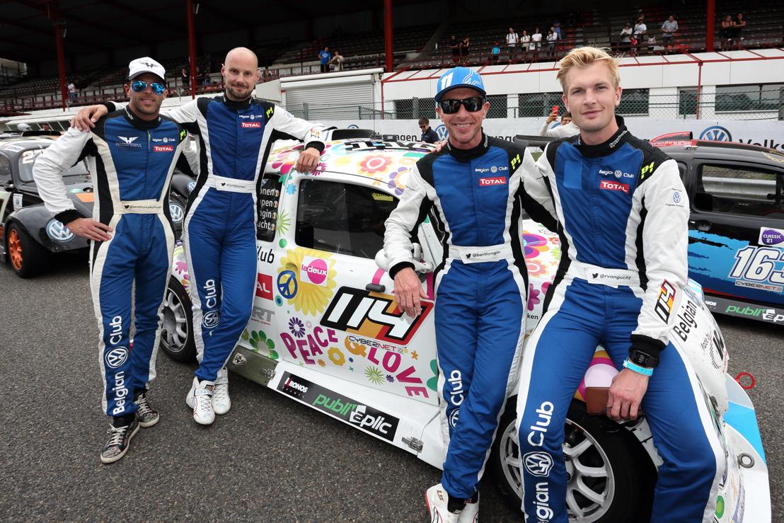 Tom Boonen aan de eindmeet van zijn eerste 25 Hours VW Fun Cup met Ruben Van Gucht, Anthony Kumpen en Bert Longin als coach