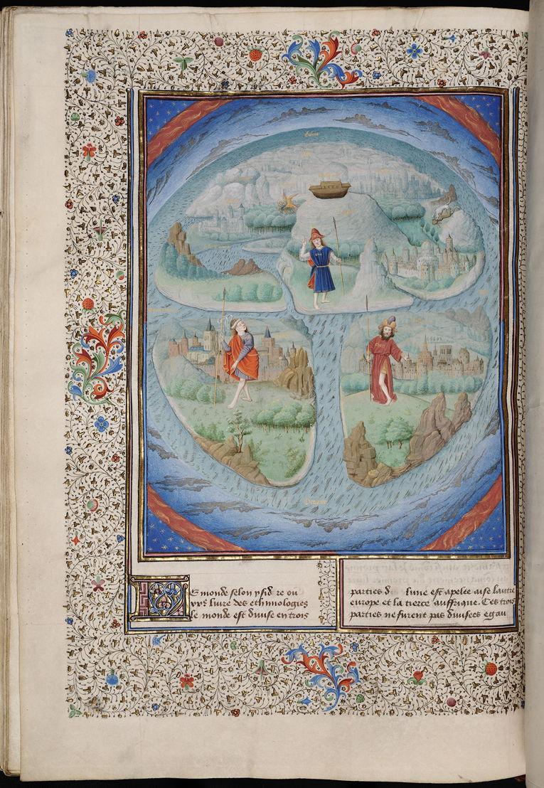 Mappamundi, Simon Marmion, dans La Fleur des Histoires, 1459-1463, Bibliothèque royale de Belgique, Cabinet des Manuscrits, 9231, fol. 281v.