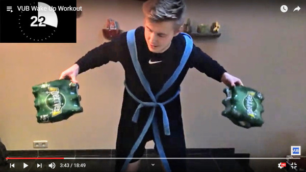 """Preview: VUB-studenten lanceren digitale work-outs voor thuis tegen ongezonde gevolgen van """"in uw kot""""-maatregelen"""