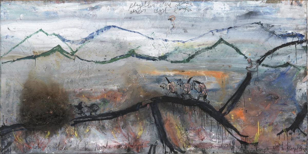 PHILIPPE VANDENBERG (1952–2009), Aimer c'est flageller II (To Love is to Flagellate II), 1981–1998.152 x 302 cm, Oil and Charcoal on canvas. © The Estate of Philippe Vandenberg / Courtesy Hauser & Wirth