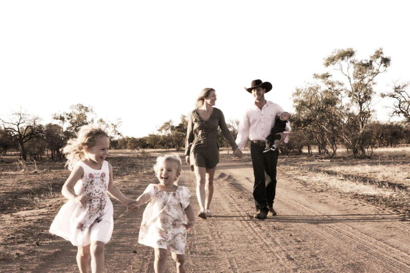 Jodi and Laine Keough on their north-west Queensland cattle farm