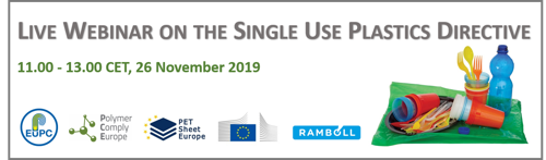 Live Webinar on the Single Use Plastics Directive - Save the date!