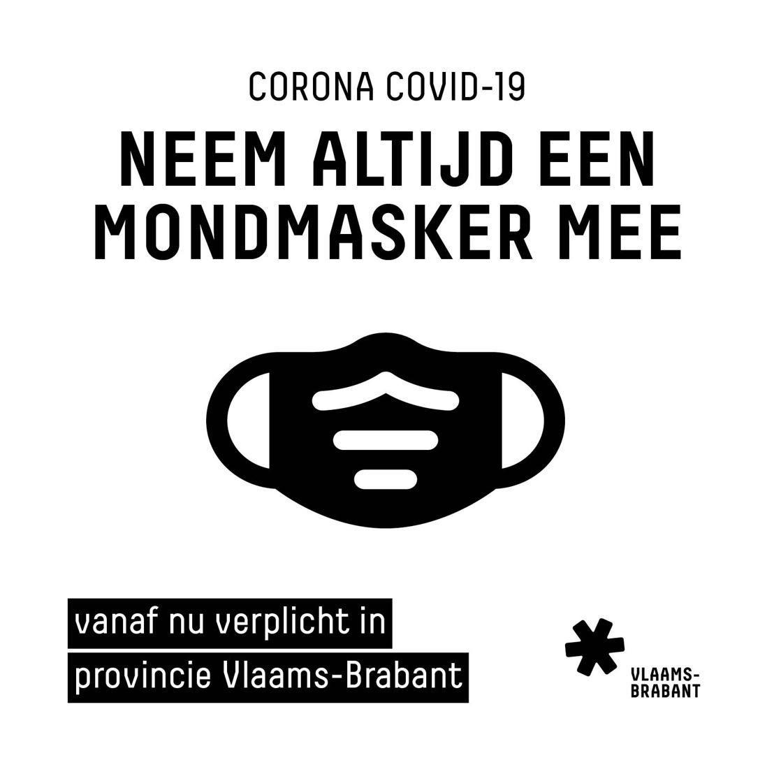 Mondmasker verplicht bij zich te hebben in Vlaams-Brabant