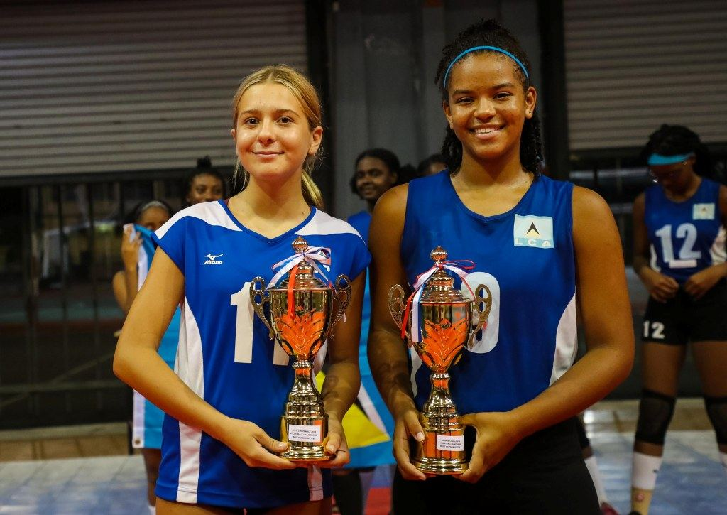 ECVA Women Best Outside Hitter - Daniella Stegmann BER and Clio Phillip LCA  Photo courtesy NORCECA