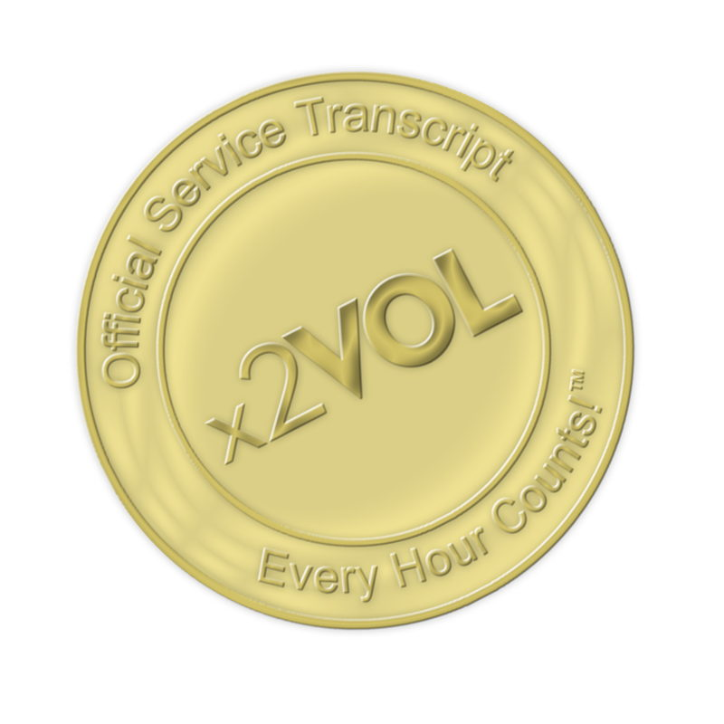 Official Service Transcript seal from x2VOL - gold