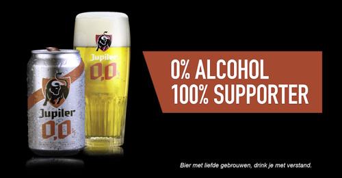 Jupiler 0,0% stunt tijdens Pro League wedstrijden: gratis bier zolang de score 0-0 is