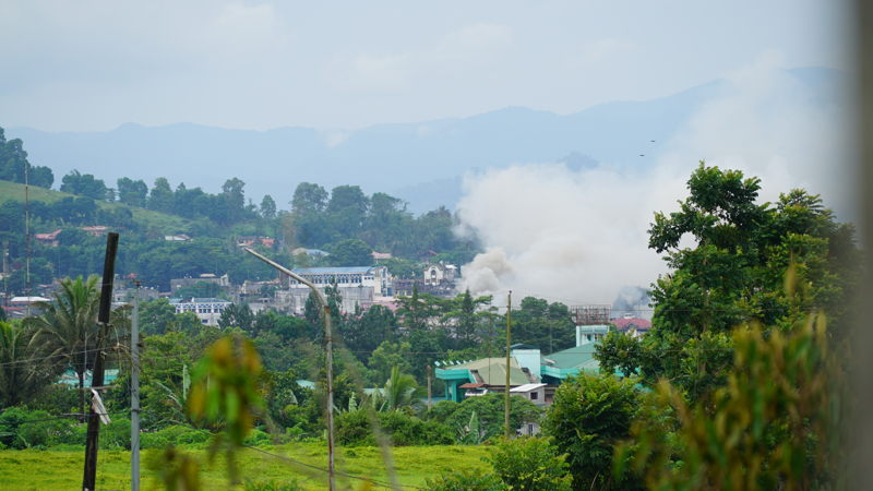 Air strike - ISIS militants overran the city of Marawi more than two months ago. The Philippines army is still trying to drive them out.