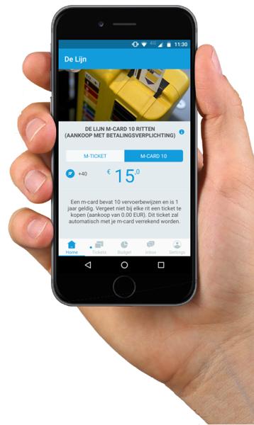 De m-card10, het nieuwste digitale vervoerbewijs. Te koop in de app van De Lijn en Olympus Mobility.