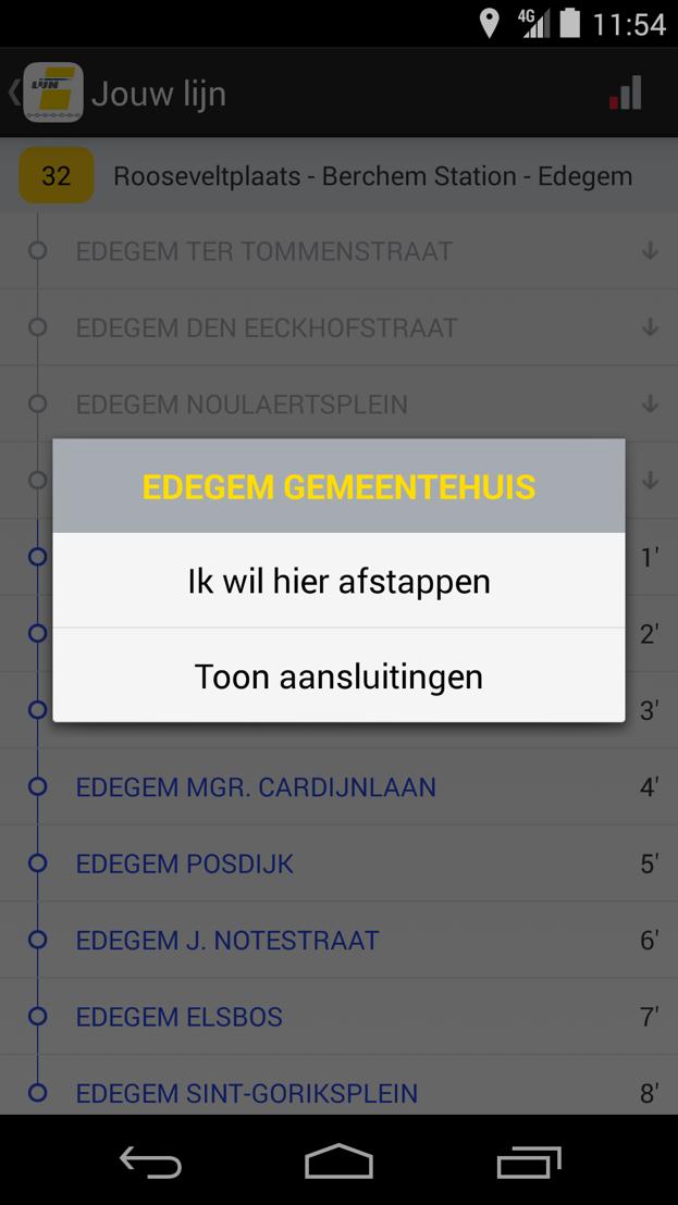 De Lijn - app halteaankondiging<br/>De reiziger kan zijn afstaphalte kiezen en aansluitende lijnen opvragen