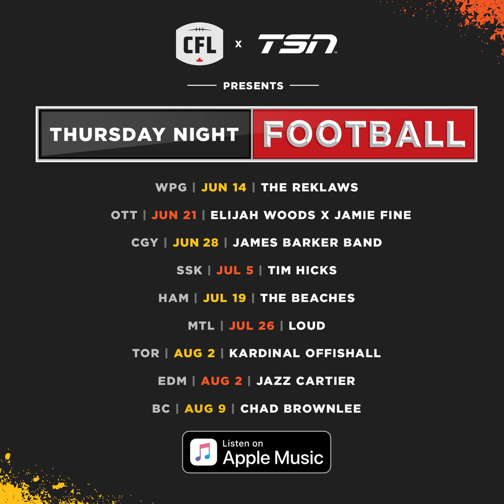Thursday Night Football Concert Series Schedule