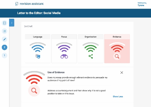 Wifi-like signals demonstrate to students how they're performing on the whole essay. Each signal is based on a trait related to the genre. Four traits per assignment help students practice all of the skills needed to write for any audience.