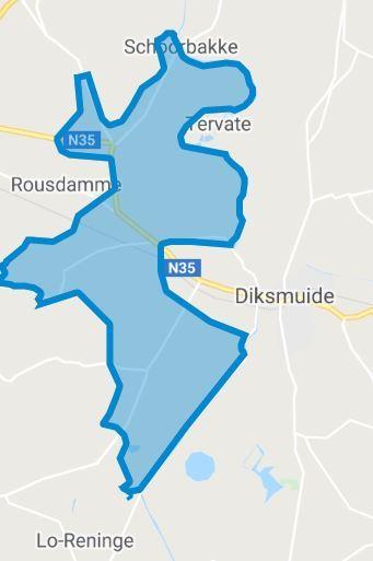Uitrolgebied Fluvius glasvezel Diksmuide