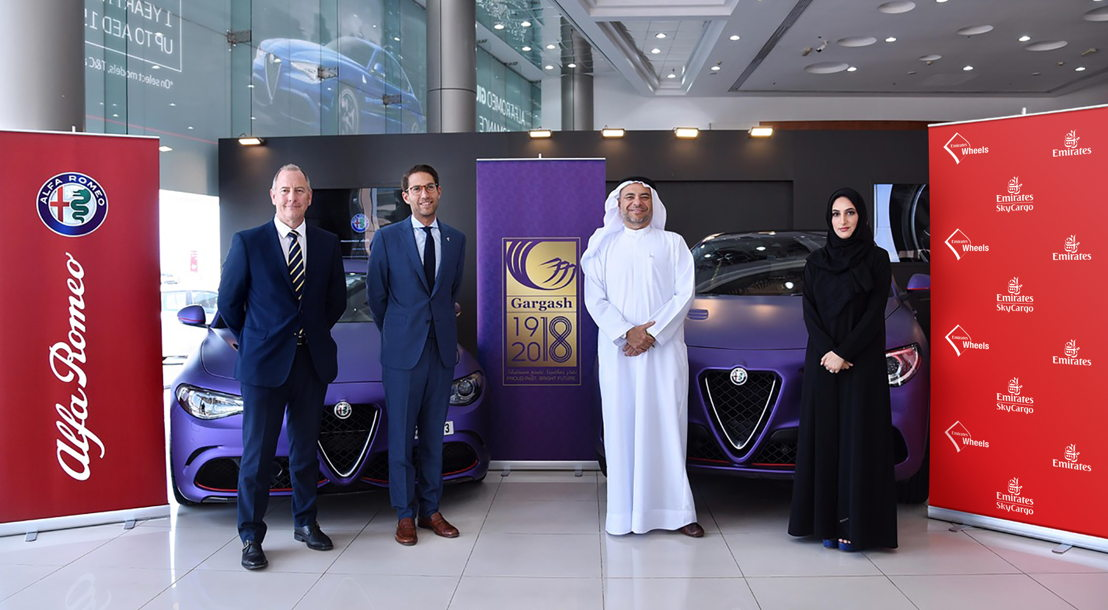 Emirates SkyCargo partners with Gargash to transport Alfa Romeos to London. From L to R: Robert Hazelwood, CEO Automotive division, Gargash Group; Karim Corm, Regional Brand Manager FCA ( Fiat Chrysler Automobiles Middle East FZE) ; Shehab Gargash, Managing Director & Group CEO, Gargash Group; Moaza Al Falahi, Emirates Vice President, Cargo Product Development and UAE National Affairs