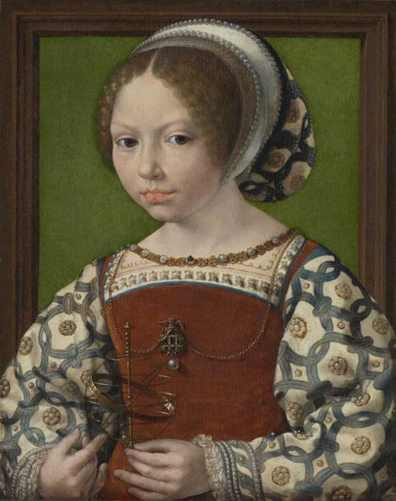 A la recherche d'Utopia: Jan Gossaert, Portret van een jonge Deense prinses met armillarium (Dorothea van Denemarken?), ca. 1530, (c) The National Gallery Londen.
