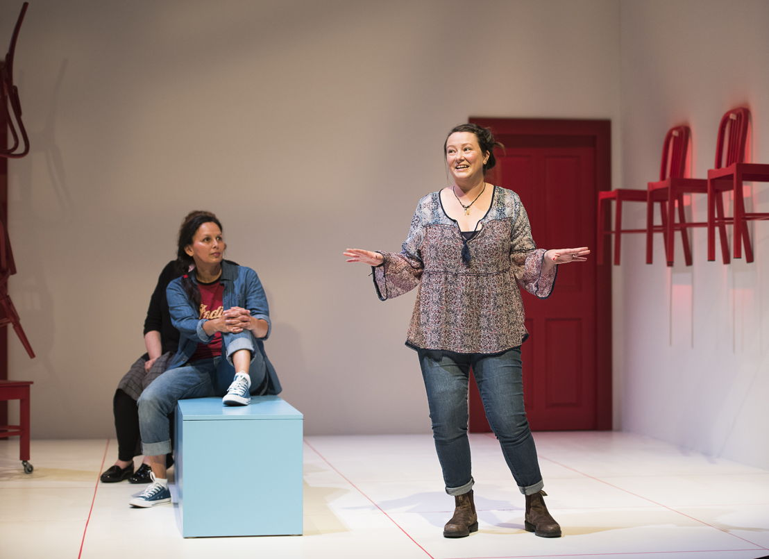 Lisa C. Ravensbergen (background) and Jennifer Paterson in Mom's the Word / Photos by Emily Cooper