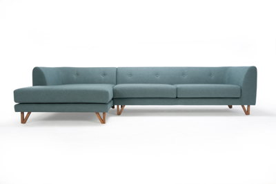 Eddie 3-seater with chaise longue left - Fabio Grey Green