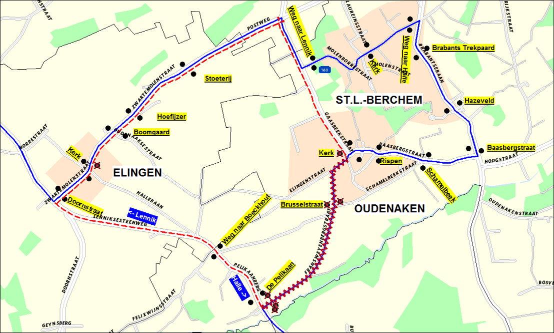 De omleiding op lijn 163 in Oudenaken