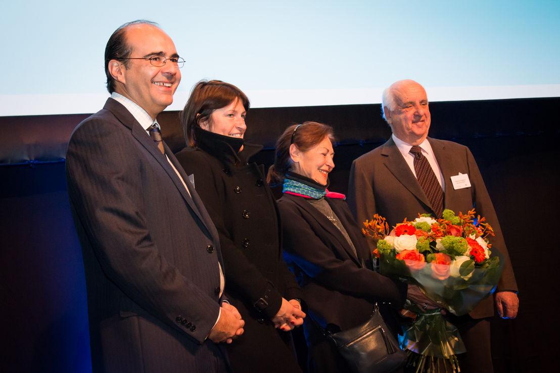 Brussels Airlines CEO Bernard Gustin, Ministre de la Mobilité Galant, Fanny Rodwell et Vicomte Etienne Davignon
