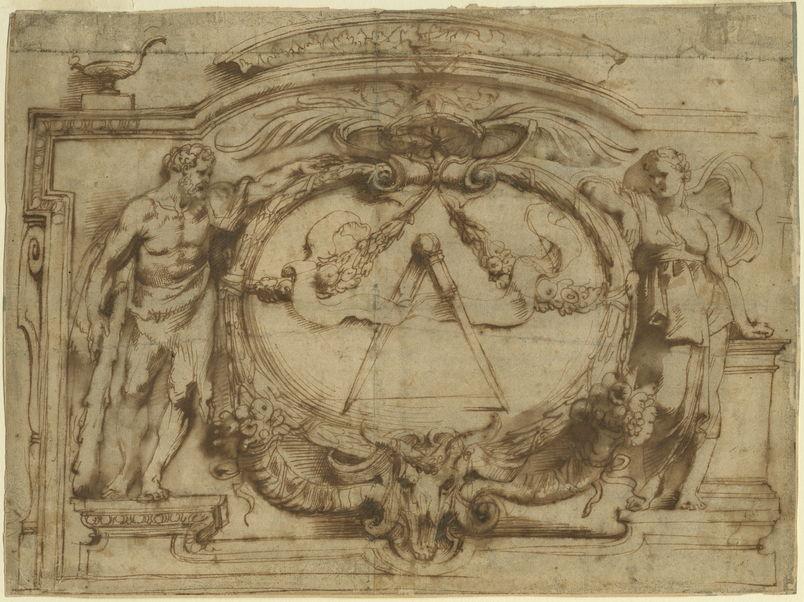 Detail uit ontwerptekening Drukkersmerk van de Officina Plantiniana <br/>© Museum Plantin-Moretus