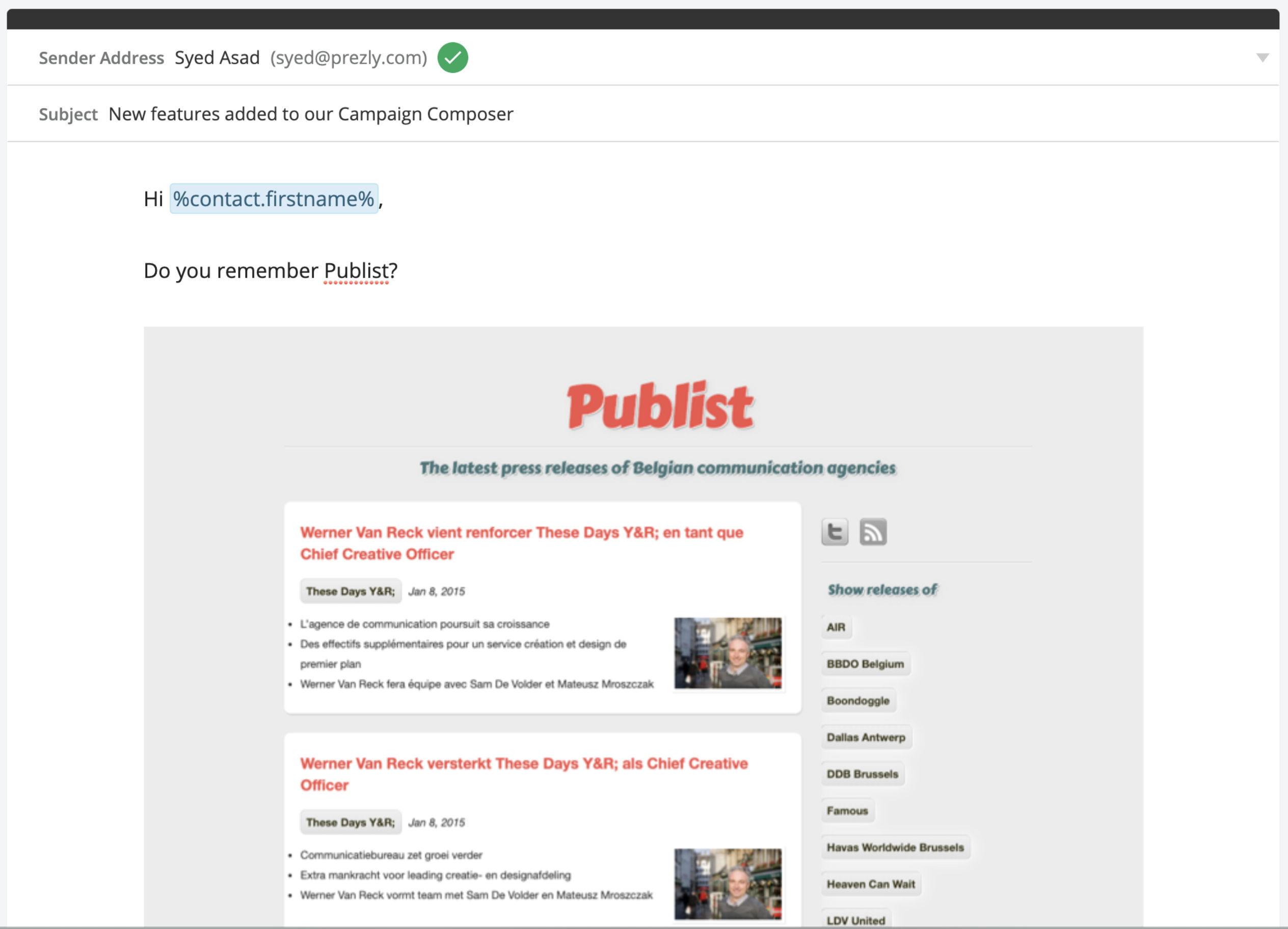 Example content (email campaign in Prezly)