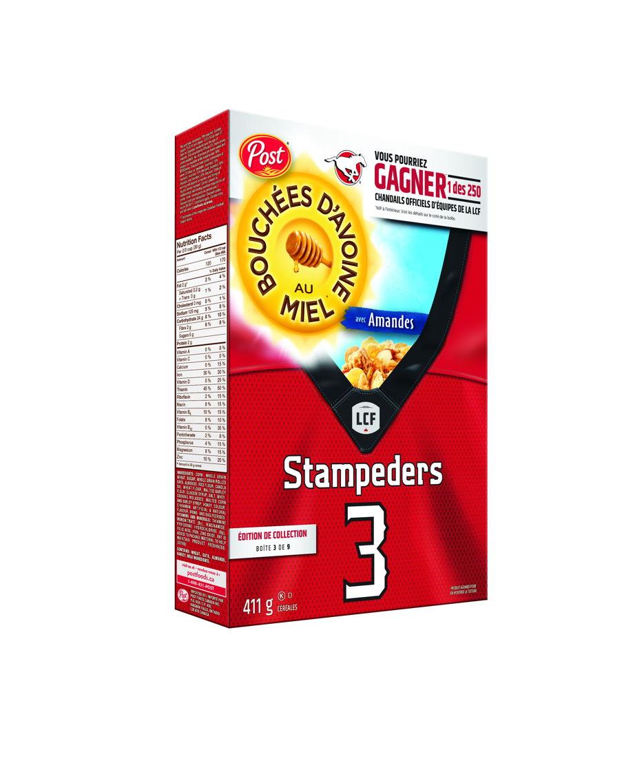 Bouchées d'avoine au miel avec amandes mettant en vedette les Stampeders de Calgary.