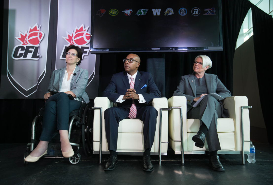 From left to right is Stephanie Cadieux (Minister for Children and Family Development, BC Government), Jeffrey L Orridge (CFL Commissioner), and Tracy Porteous (Chair, Ending Violence Association BC) during the media conference.