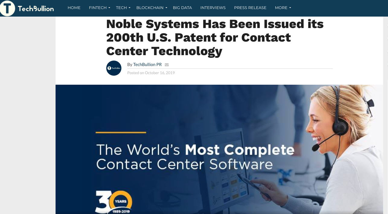 Noble Systems Has Been Issued its 200th U.S. Patent for Contact Center Technology