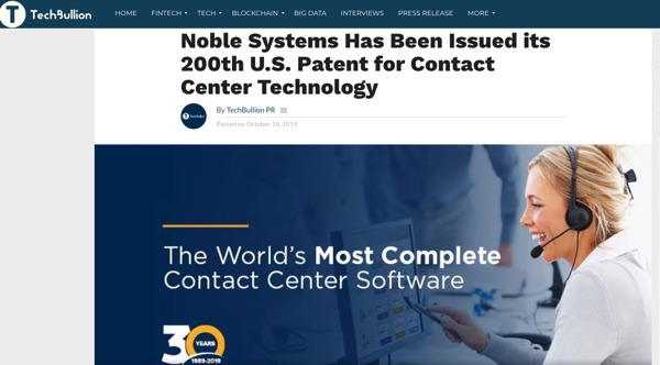 Preview: Noble Systems Has Been Issued its 200th U.S. Patent for Contact Center Technology