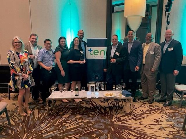 Leaders from The Efficiency Network (TEN) and Duquesne Light Co. gather after TEN was awarded 7th place as one of Pittsburgh Business Times