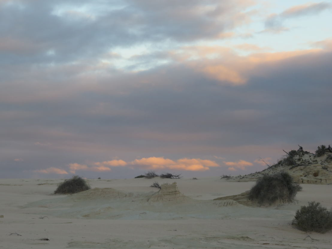 Sunset at the dried remains of Lake Mungo, photo credit by Lisa McGregor.