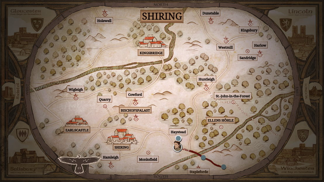 Reisekarte und Übersicht über Shiring