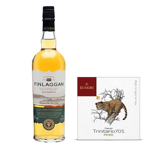 "Cioccolato fondente cacao Trinitario Perù & slay Single Malt Scotch Whisky ""Finlaggan Old Reserve"" - The Vintage Malt Whisky Company"