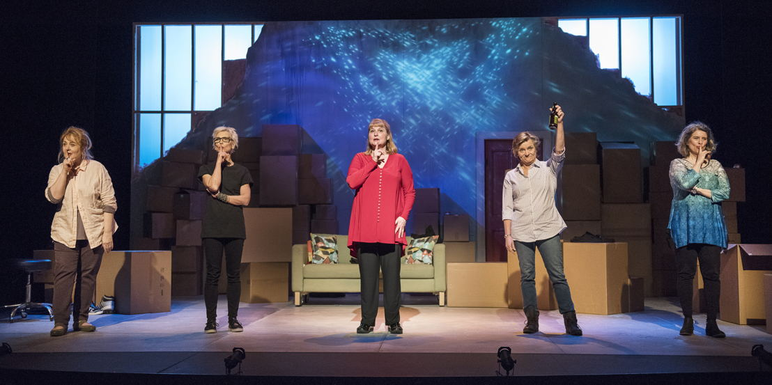 The cast of the 2016 production of Mom's the Word: Nest ½ Empty. Set and costume design by Pam Johnson and lighting design by Marsha Sibthorpe. Photo by Emily Cooper