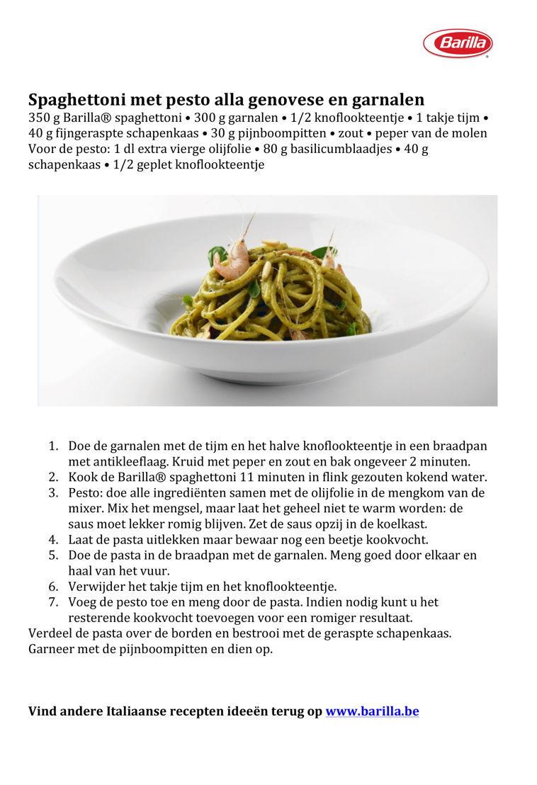 Recept Spaghettoni met pesto alla genovese en garnalen
