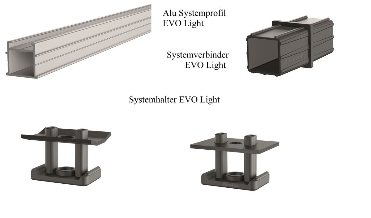 Aluminum system profile EVO Light and system connector EVO light