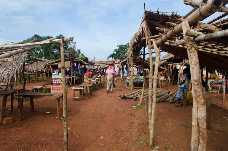 A few stalls have re-opened on the Tokoyo market that were burned down during the attack on Muslim neighbourhood of Bangassou, on May 13th 2017. Photographer: A few stalls have re-opened on the Tokoyo market that were burned down during the attack on Muslim neighbourhood of Bangassou, on May 13th 2017.