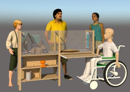 Preview: Een konijnenhok voor kinderen in een rolstoel