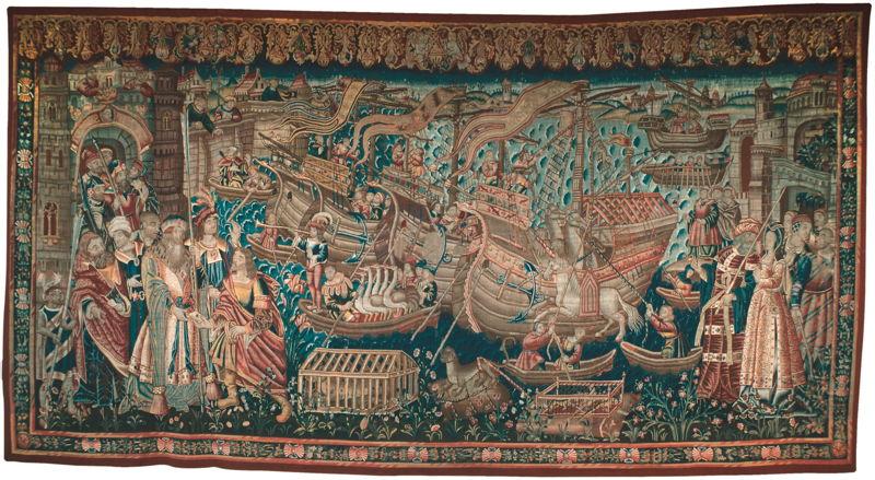 In Search of Utopia © The so-called 'Landing of Vasco da Gama in India', Tournai, Early sixteenth century Tapestry. Lisbon, Caixa Geral de Dépositos. On loan to the Museu Nacional de KB Arte Antiga, Lisbon.
