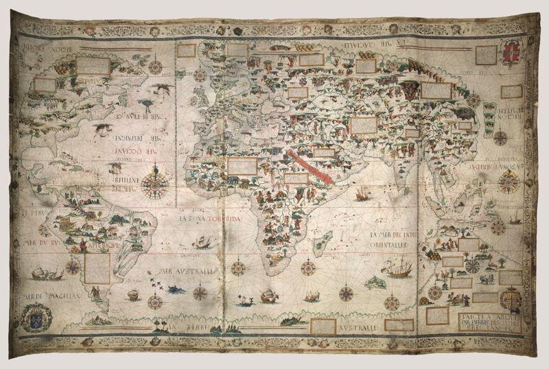 Op zoek naar Utopia © Pierre Desceliers, Wereldkaart (Mappa Mundi), Dieppe, 1550. Londen, British Library