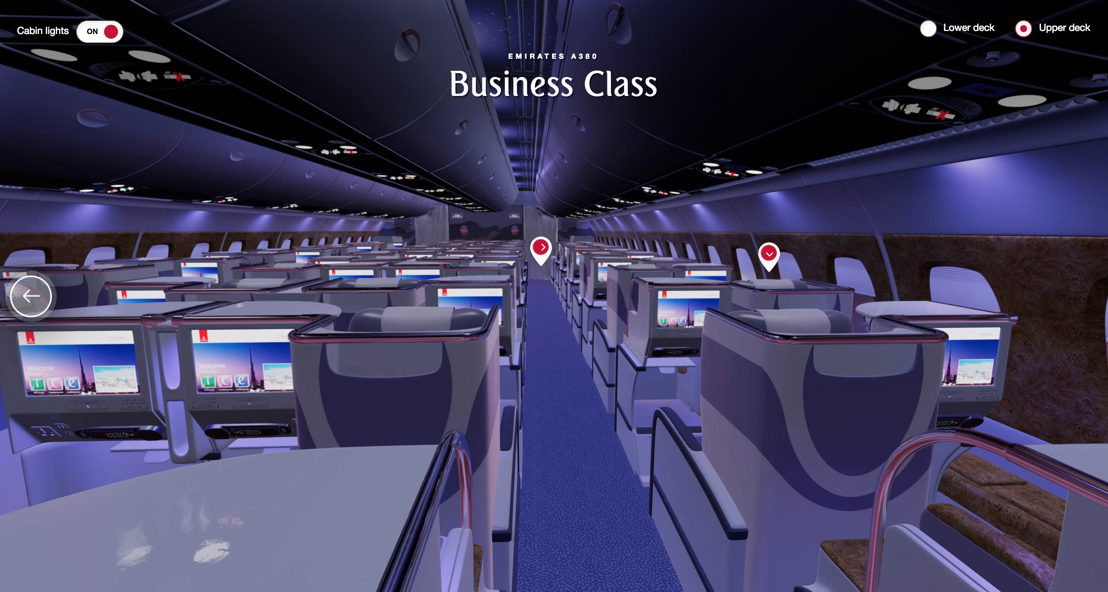 The technology gives customers an immersive 3D 360 degree view of Emirates' aircraft interiors