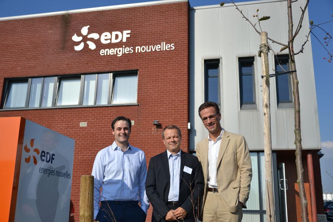Wouter Holbrecht (Algemeen directeur EDF EN Services Belgium), Thierry Muller (Algemeen directeur EDF EN Services) en Grégoire Dallemagne (CEO EDF Luminus)