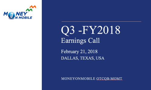 MoneyOnMobile Schedules Q3-FY2018 Earnings Conference Call