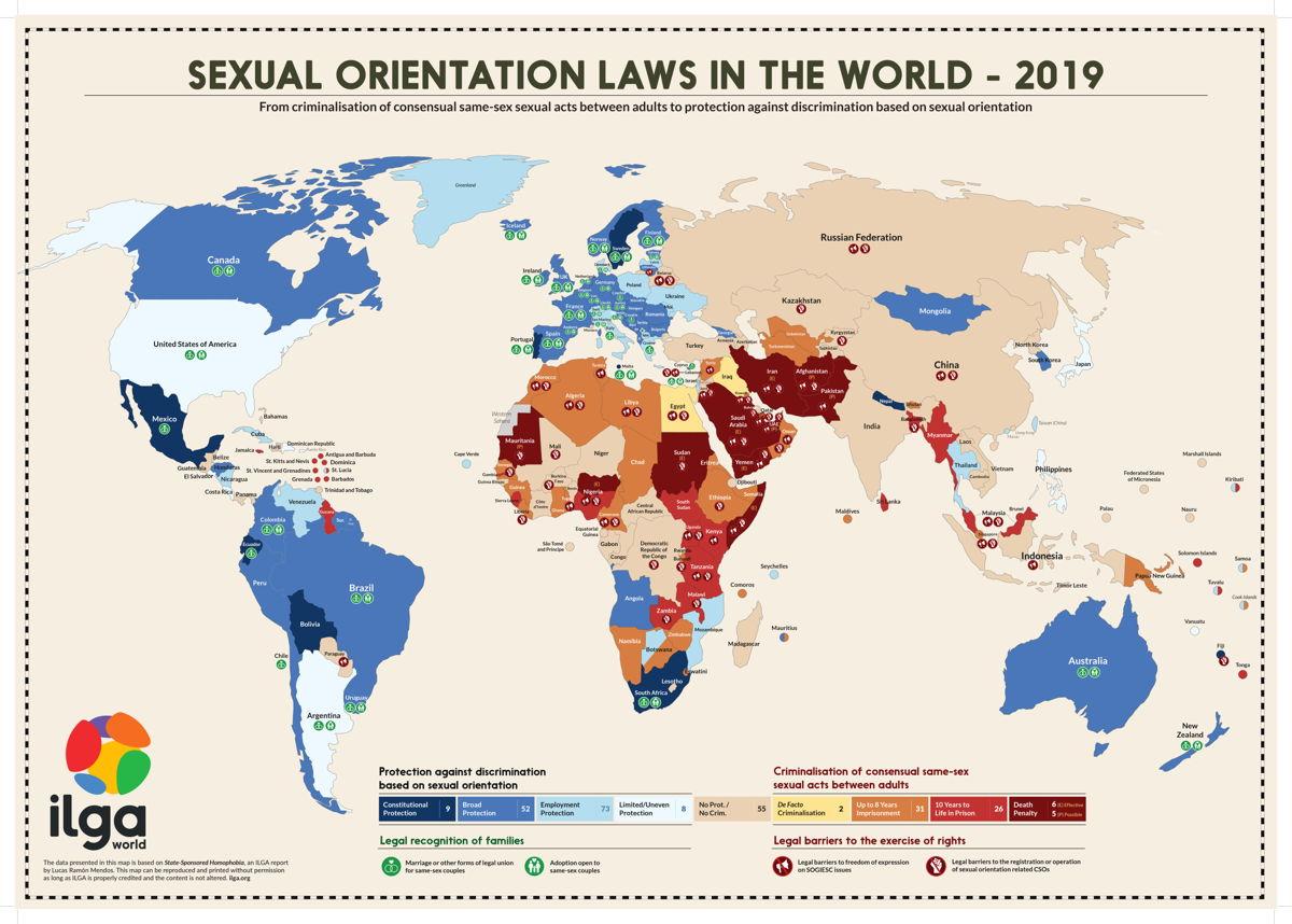 *Cijfer van Ilga: De internationale LGBTQI+ organisatie rapporteert elk jaar over de seksuele rechten wereldwijd. Op deze afbeelding kan je zien waar het holebihuwelijk of geregistreerd partnerschap voor koppels van hetzelfde geslacht mogelijk is. https://ilga.org/ilga-map-sexual-orientation-laws-2019
