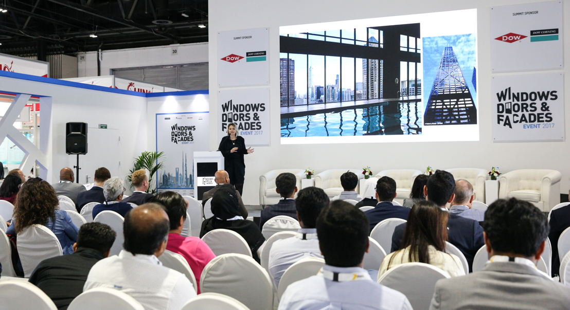Agnes Koltay, Director at Koltay Facades, delivers a presentation at the Middle East Facades Summit